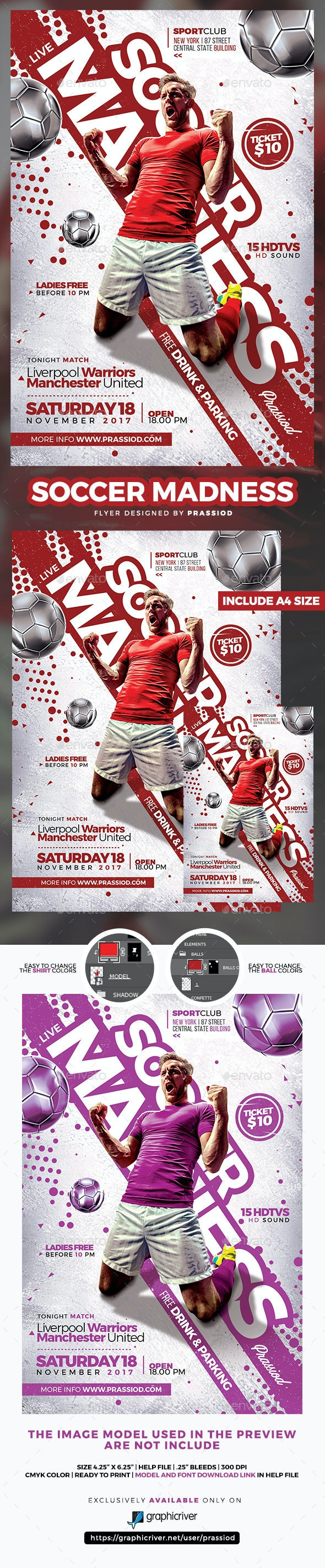 Soccer Madness Flyer Template - Sports Events