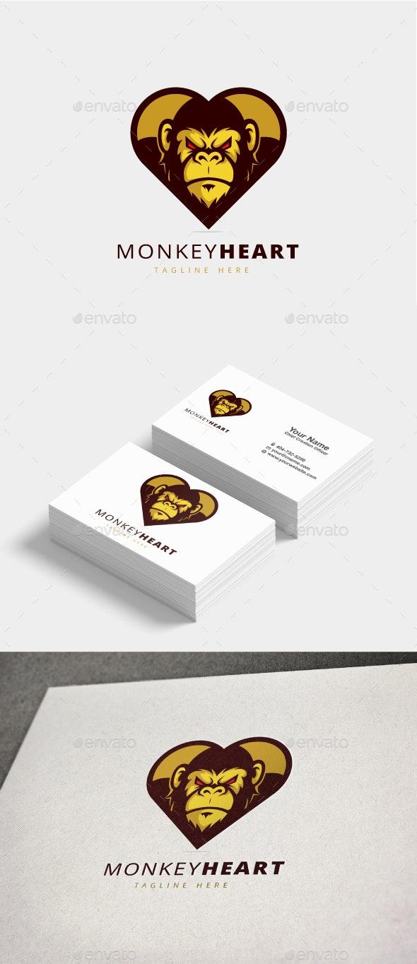 Monkey Heart Logo - Animals Logo Templates