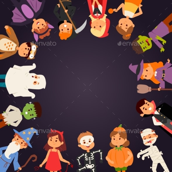Kids Wearing Halloween Party Costumes - People Characters