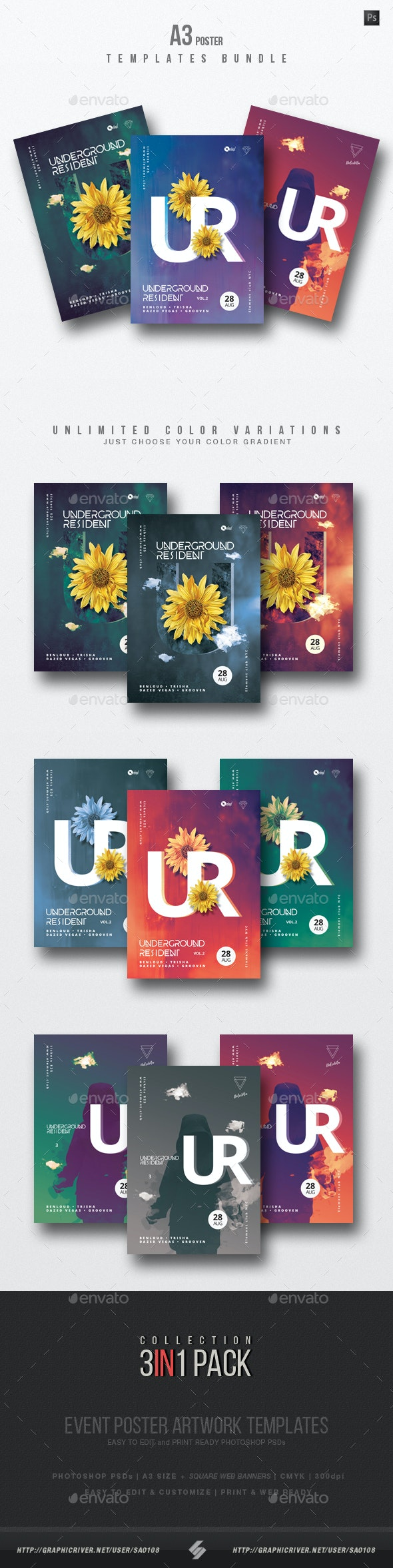Underground Resident Trilogy - Party Flyer /Poster Templates Bundle - Clubs & Parties Events