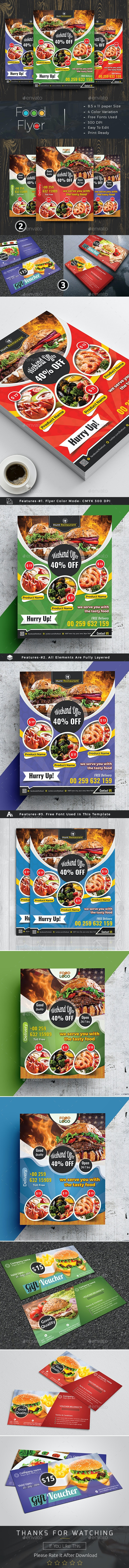 Restaurant Food Flyer - Business Cards Print Templates