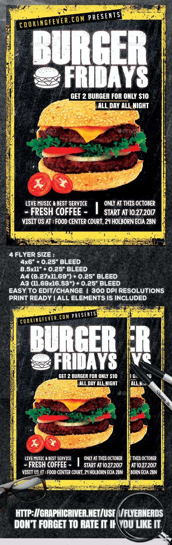 Burger Fridays Flyer Template - Restaurant Flyers