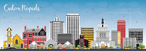 Cedar Rapids Iowa Skyline with Color Buildings - Buildings Objects