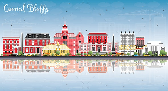 Council Bluffs Iowa Skyline with Color Buildings - Buildings Objects
