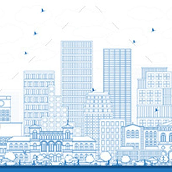 Outline Oslo Norway Skyline with Blue Buildings
