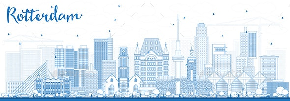Outline Rotterdam Netherlands Skyline with Blue Buildings - Buildings Objects