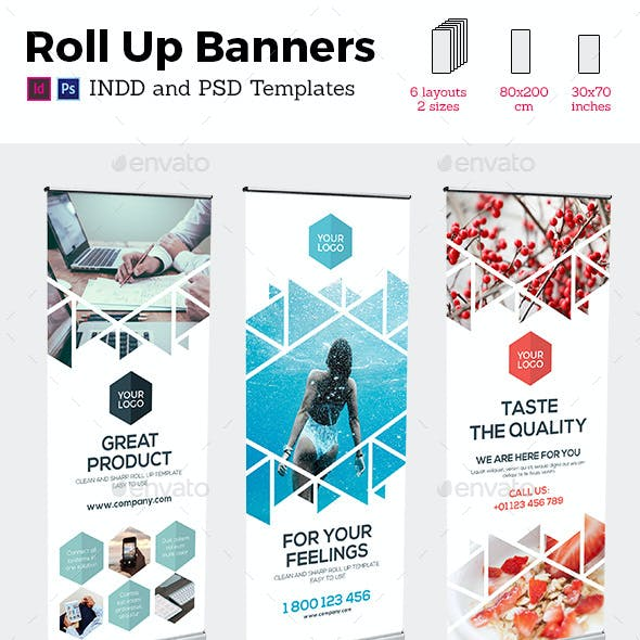 Rollup Stand Banner Display Triangle White 6x Indesign and Photoshop Template