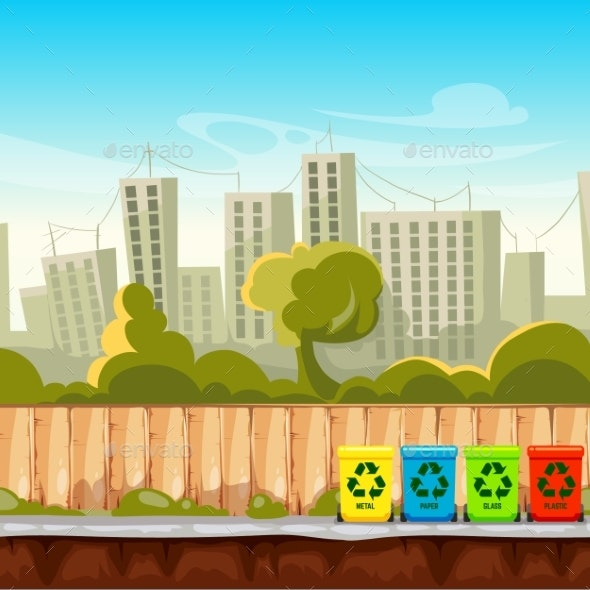 Recycle Waste Bins with Cityscape Background - Buildings Objects