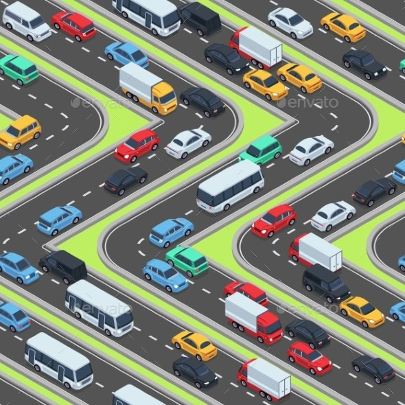 Urban Cars Seamless Texture. Isometric Roads and - Miscellaneous Vectors