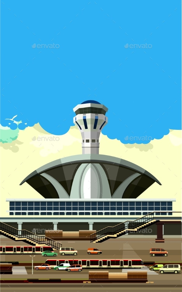 Airport Building Vector Illustration - Man-made Objects Objects