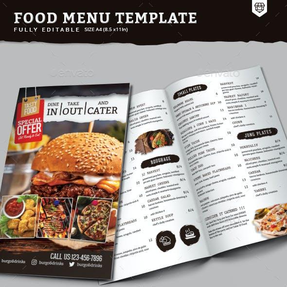 A4 Bi-Fold Food Menu Template