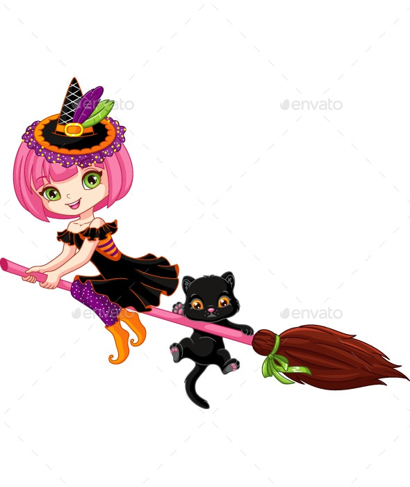 Little Witch on Broom - Halloween Seasons/Holidays
