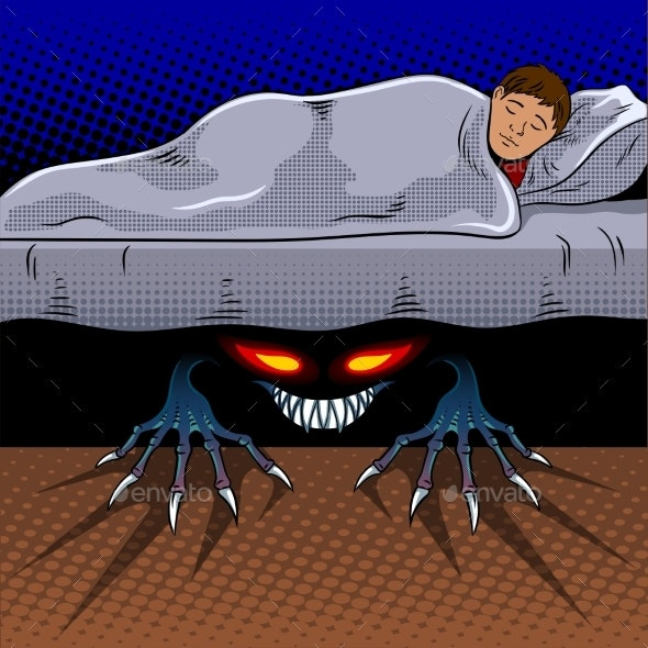 Child with Monster Under the Bed Pop Art Vector - People Characters