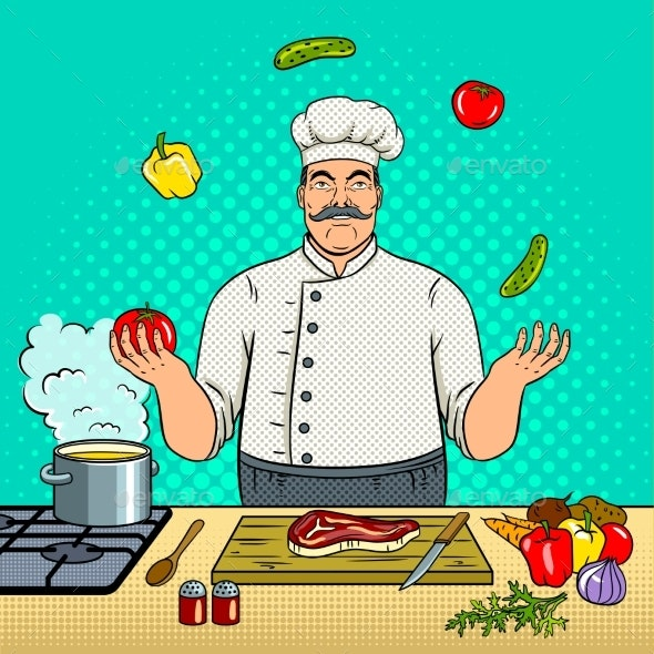 Chef Juggles with Vegetables Pop Art Vector - People Characters