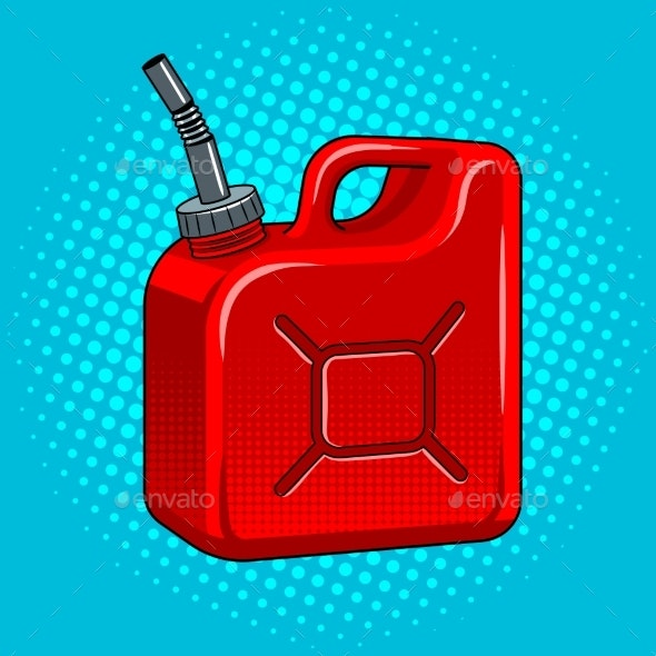Gasoline Jerrycan Pop Art Vector Illustration - Man-made Objects Objects