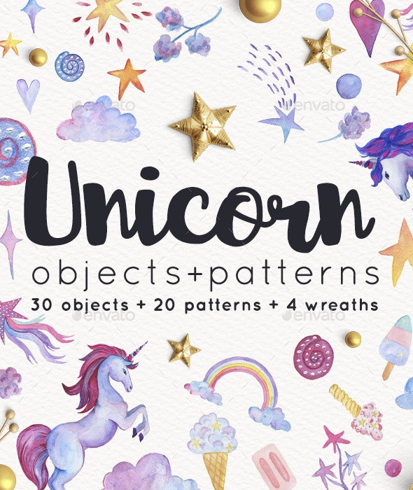 Unicorn Objects and Patterns Set - Illustrations Graphics