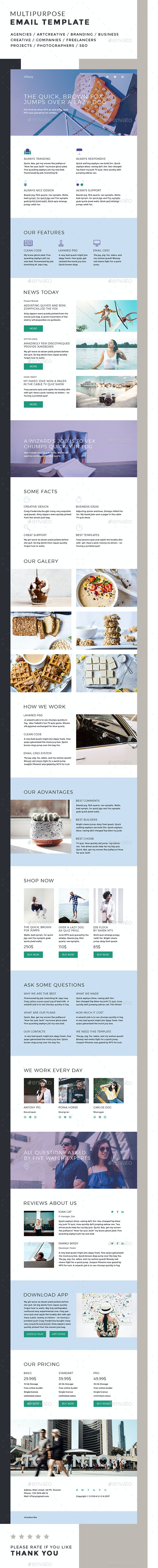 Tiffany / Multipurpose Email Template - E-newsletters Web Elements