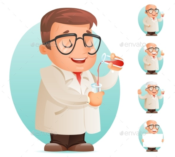 Scientist with Test-Tube Icon Retro 3D Cartoon - People Characters