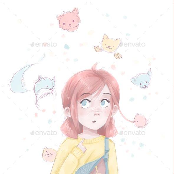 Girl with Kitties