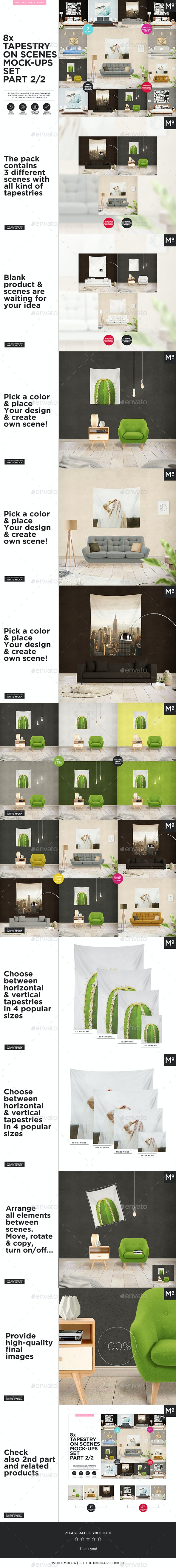 8x Tapestry on Scenes Mock-ups 1/2 - Miscellaneous Product Mock-Ups