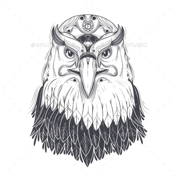 Sea Eagle Head with Pagan Runic Symbols Vector - Animals Characters