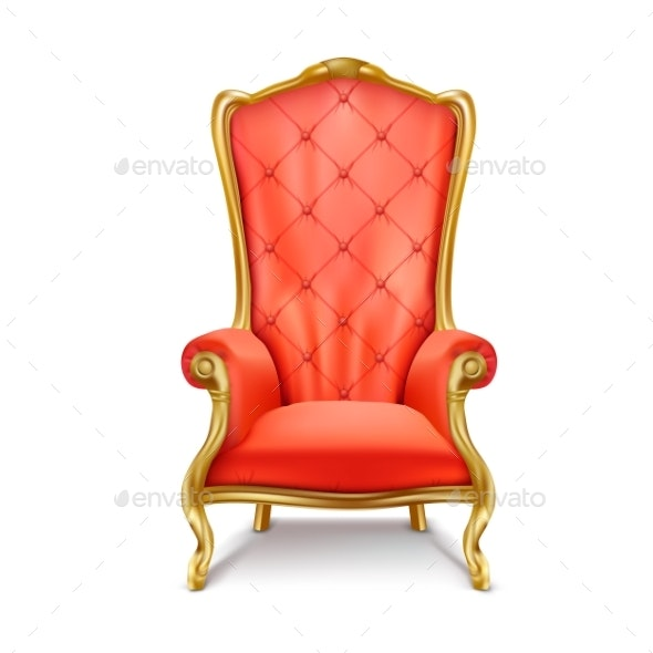 Luxurious Royal Red Throne Realistic Vector - Man-made Objects Objects
