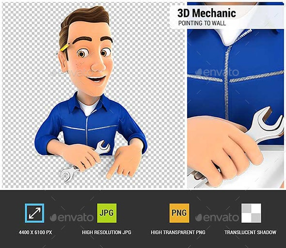 3D Mechanic Pointing to Empty Wall - Characters 3D Renders