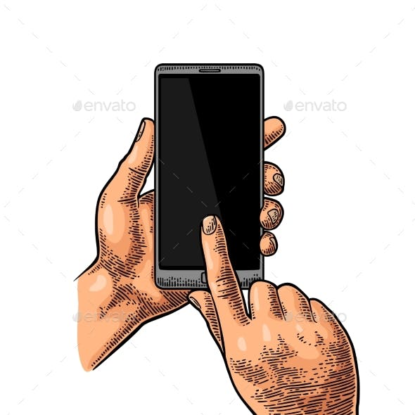 Hands Holding and Touching a Large Mobile Phone