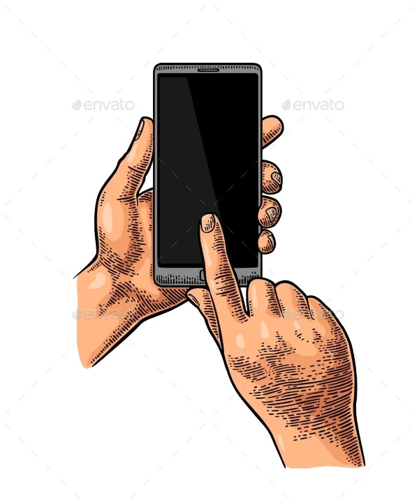 Hands Holding and Touching a Large Mobile Phone - Computers Technology
