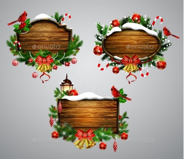 Vector Wooden Christmas Board - Seasons/Holidays Conceptual