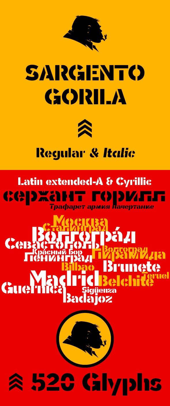 Sargento Gorila Fonts - Stencil & Type Decorative