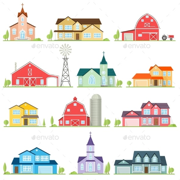 Set of Vector Flat Icon Suburban American Houses - Buildings Objects