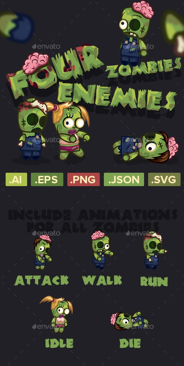 Four Zombies Characters Sprite Sheets - Sprites Game Assets