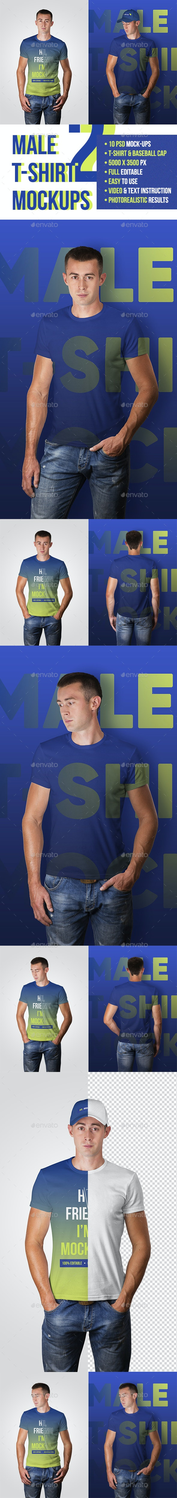 Male T-Shirt and Baseball Cap Mockups - T-shirts Apparel