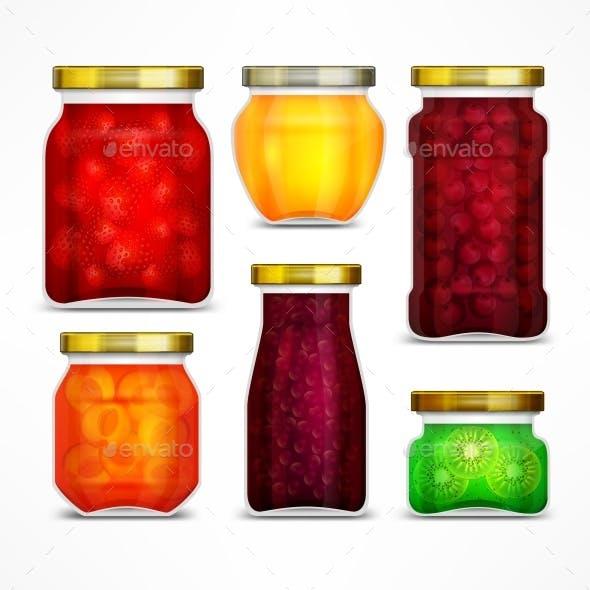 Natural Fruit Jam Preserves Jars