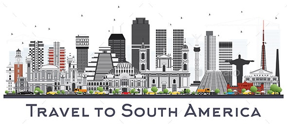 South America Skyline with Famous Landmarks Isolated on White Background. - Buildings Objects
