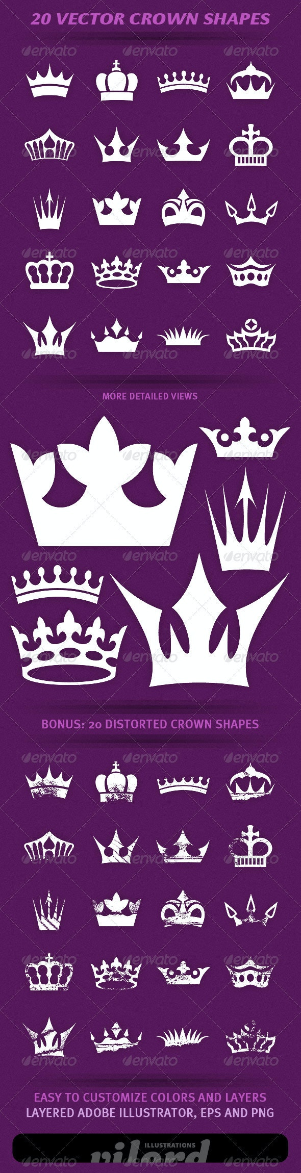 20 Crown Shapes - Decorative Symbols Decorative