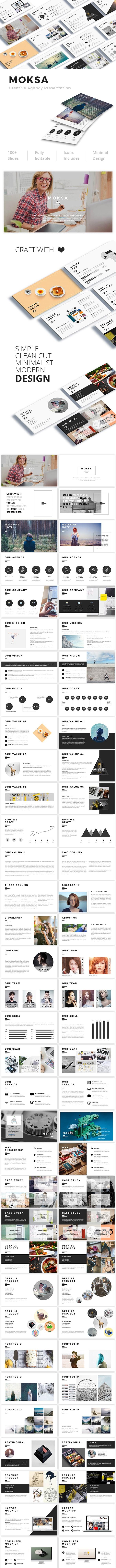 Moksa - Creative Agency Google Slide Presentation - Google Slides Presentation Templates