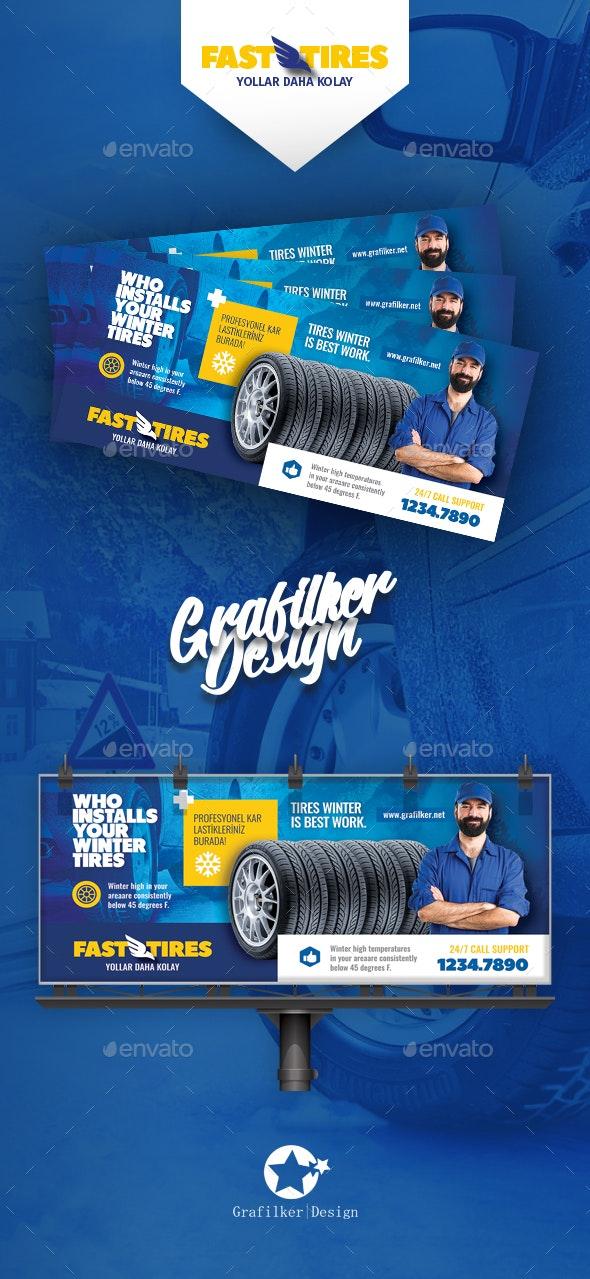 Auto Tires Billboard Templates - Signage Print Templates