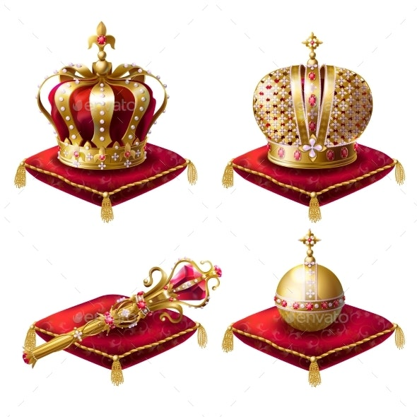 Royal Crowns, Scepter and Orb Realistic Vector Set - Man-made Objects Objects
