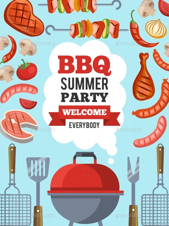 Design Template of Invitation for Bbq Party - Food Objects