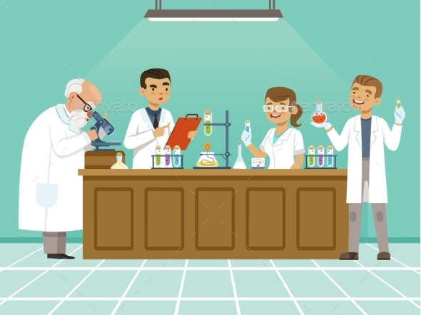 Professional Chemists in Their Laboratory Makes - People Characters