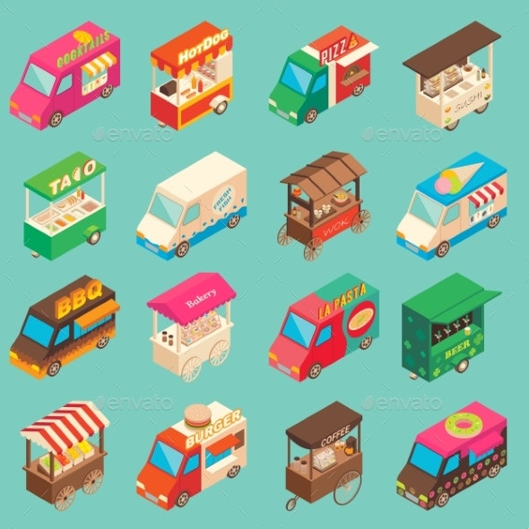 Vector Street Food Transport Isometric Icon Set - Retail Commercial / Shopping