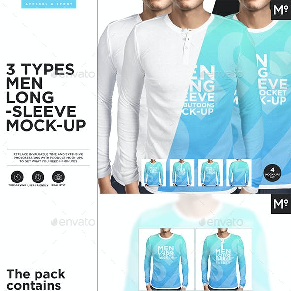 3 Types Men Longsleeve Mock-up