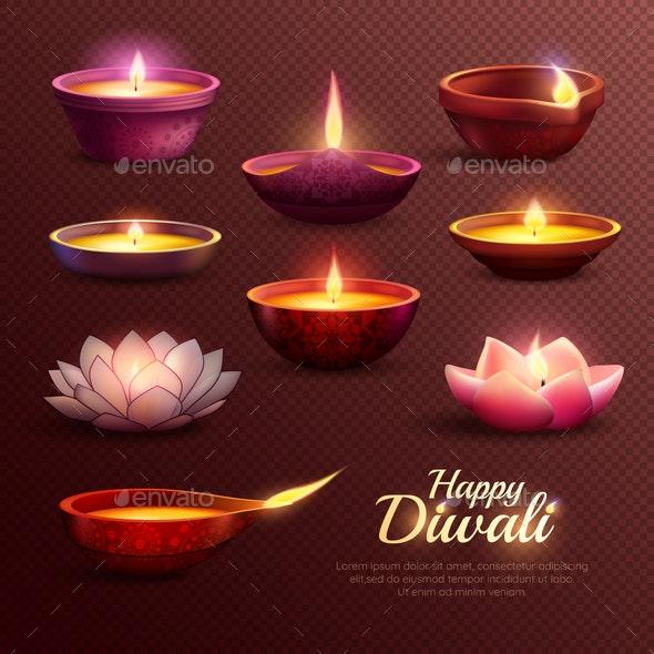 Diwali Celebration Icons Set - Miscellaneous Seasons/Holidays