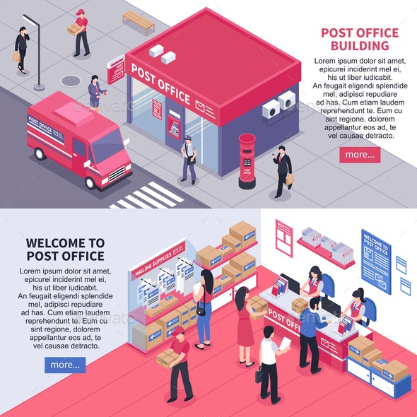 Post Office Isometric Horizontal Banners - Industries Business