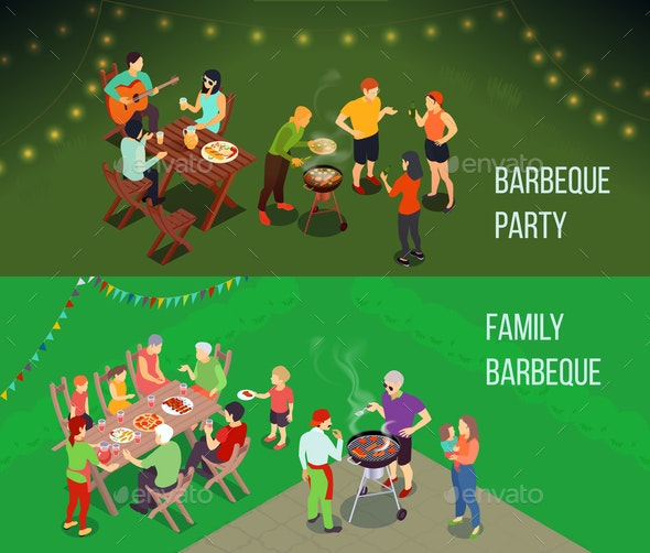Family Picnic Isometric Banners - Food Objects