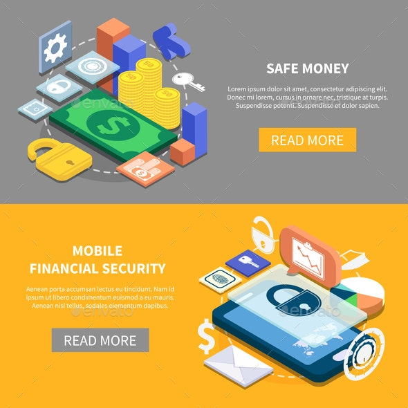 Financial Security Isometric Banners - Backgrounds Decorative
