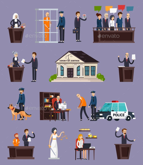 Law and Justice Orthogonal Icons Set - People Characters