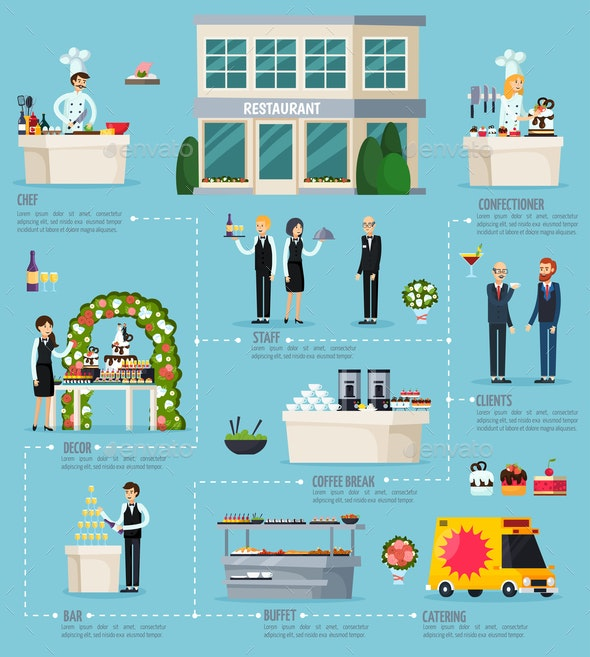 Catering Orthogonal Flat Infographics - Food Objects